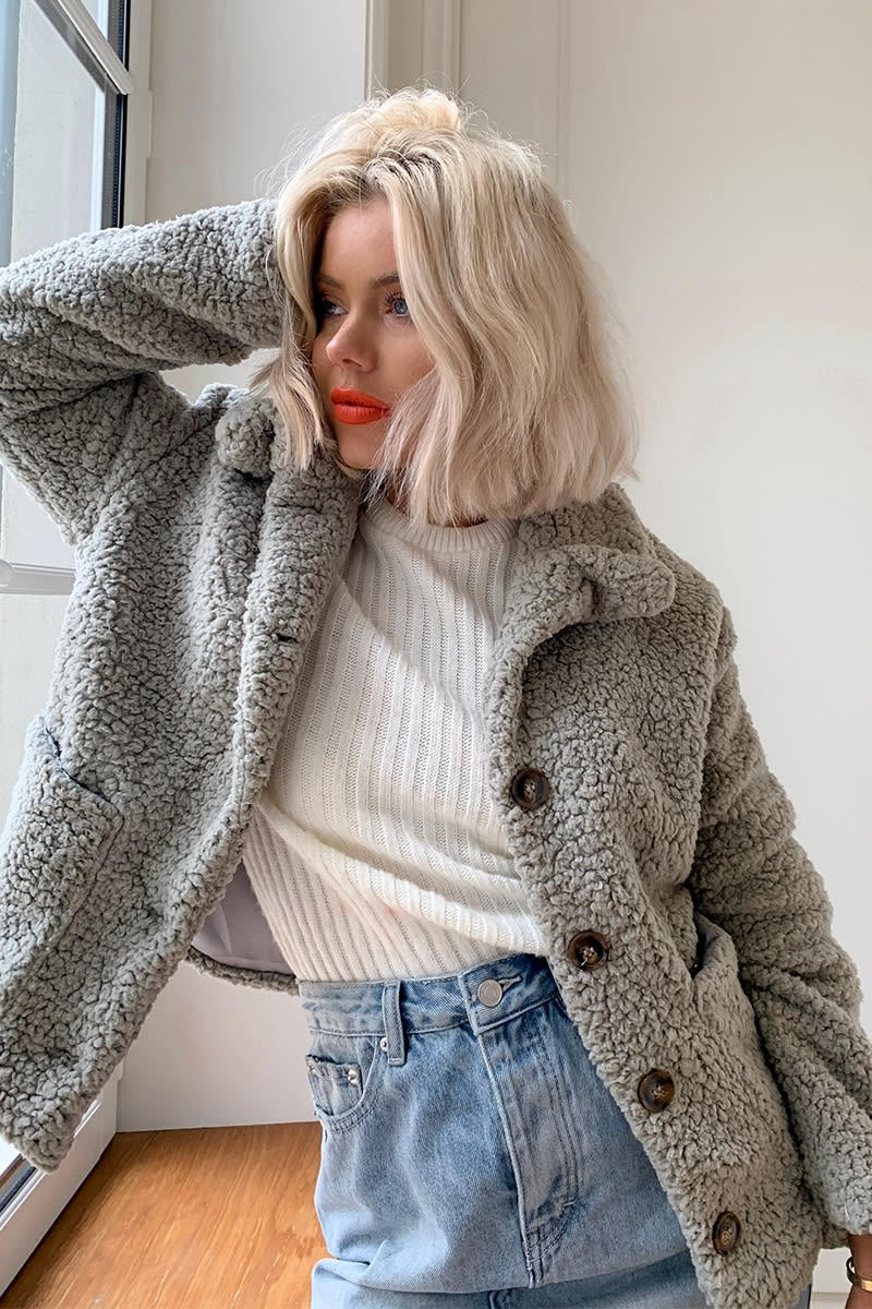 LAURA JADE GREY TEDDY FUR HORN BUTTON CROPPED COAT