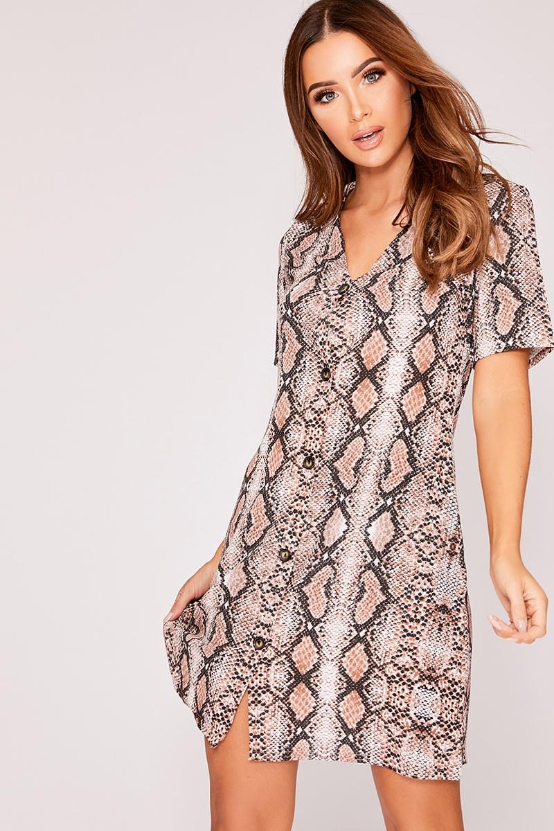 brown snake print horn button dress