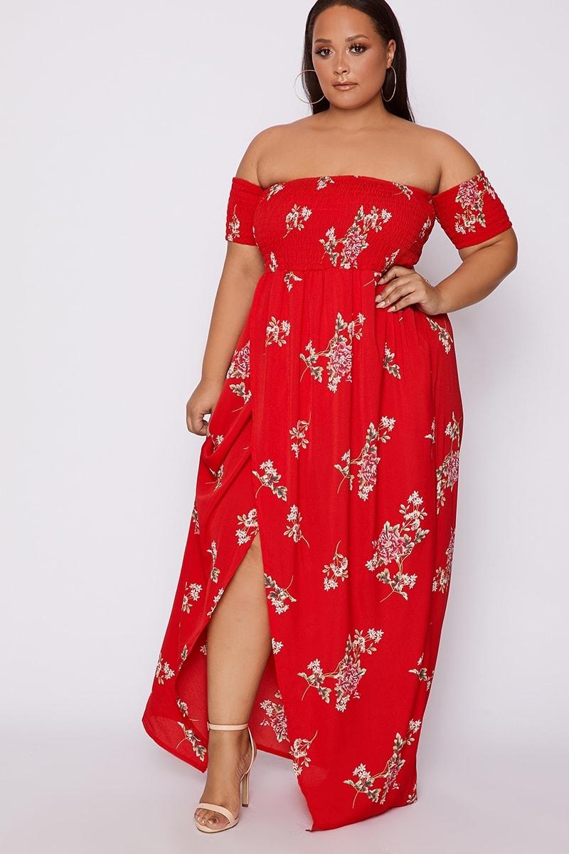 CURVE KAMYA RED FLORAL BARDOT MAXI DRESS