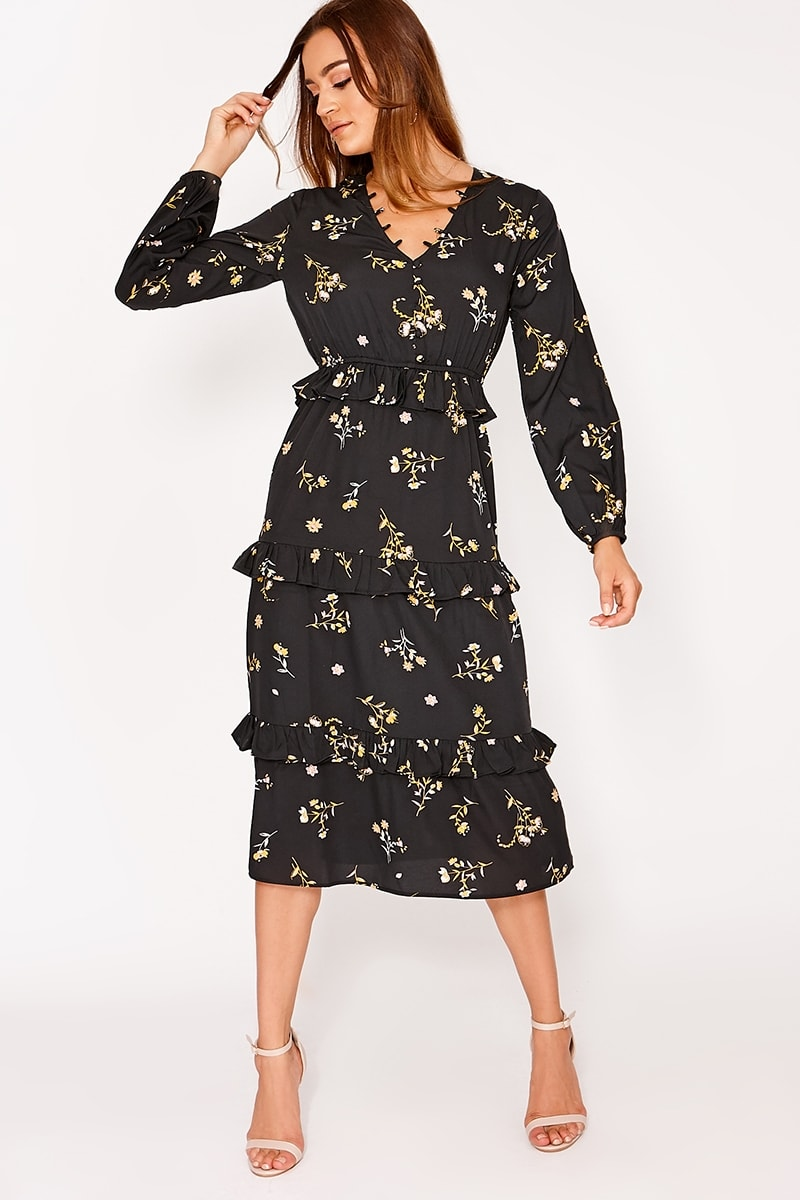 black floral button down midi dress