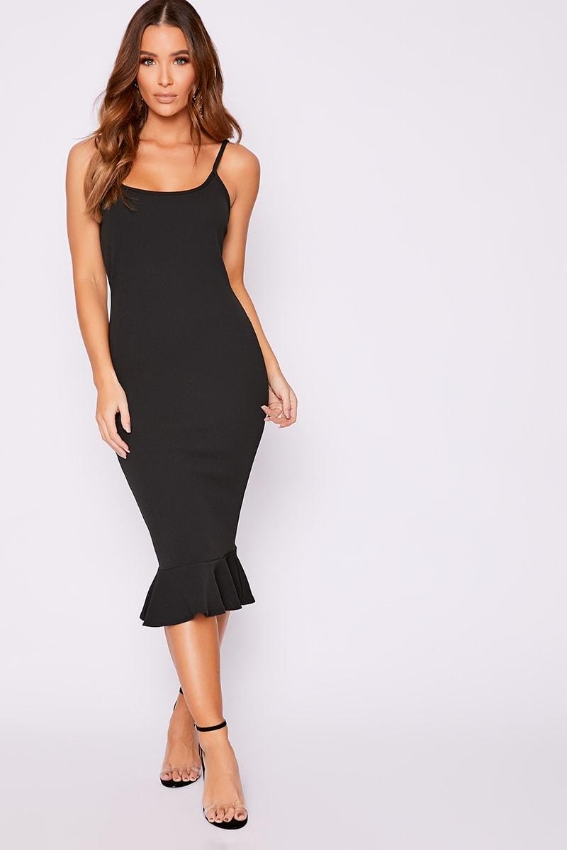 black frill hem midi dress