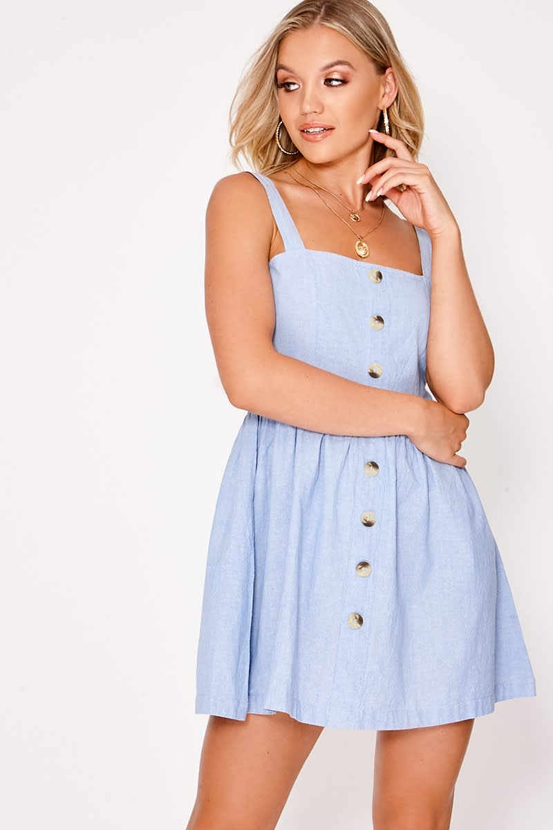 ASHLYNN BLUE BUTTON FRONT DRESS