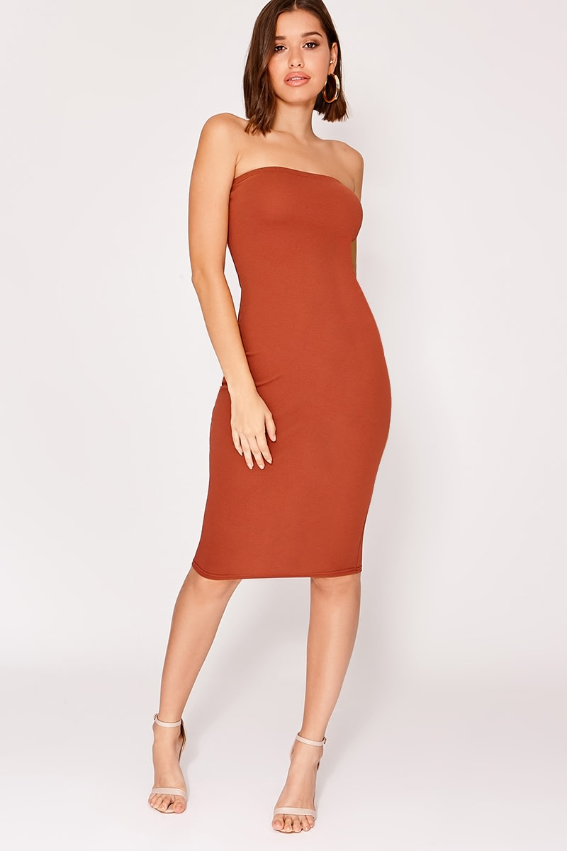 brown crepe bandeau midi dress