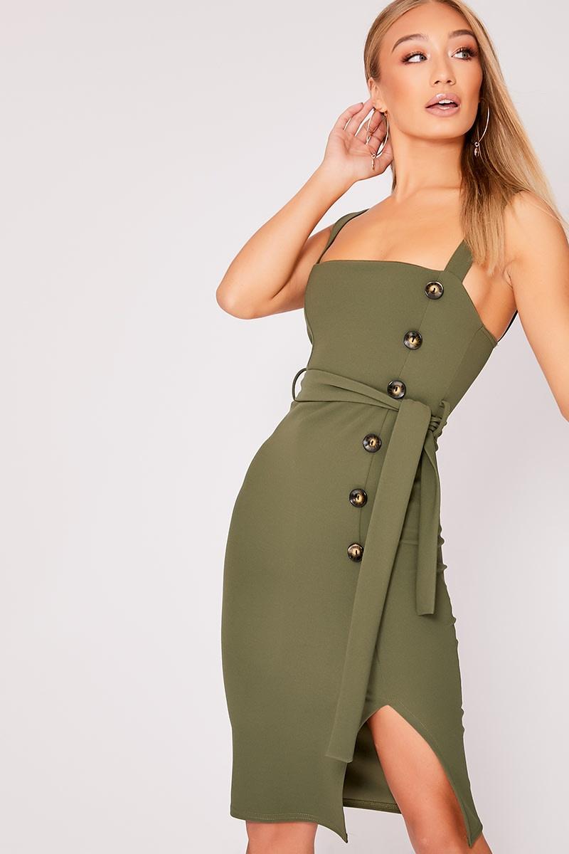 khaki button down midi dress