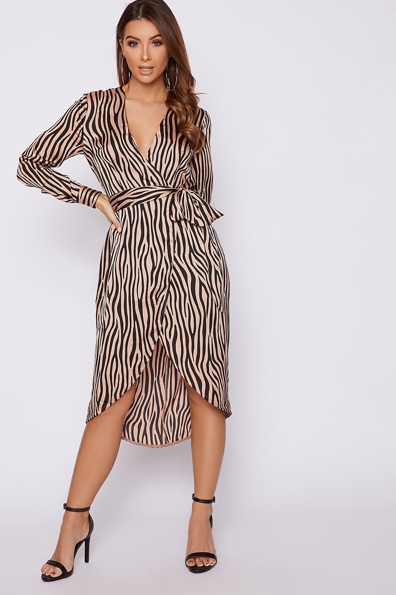 nude zebra print satin tie waist midi dress