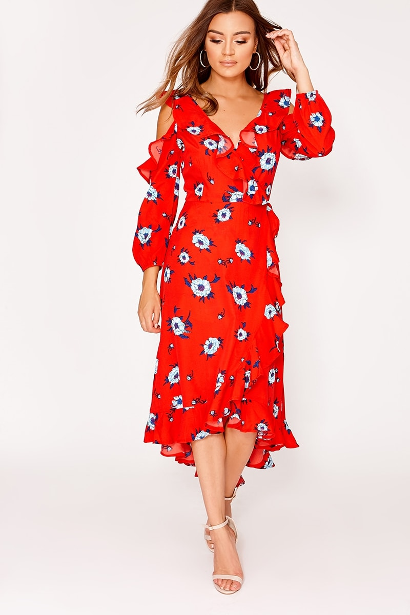 red floral cold shoulder ruffle wrap midi dress