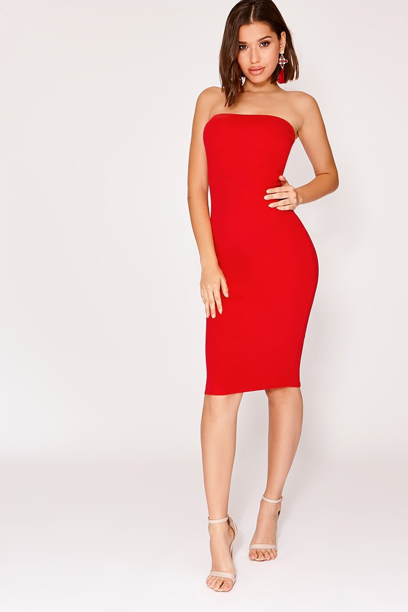 red crepe bandeau midi dress