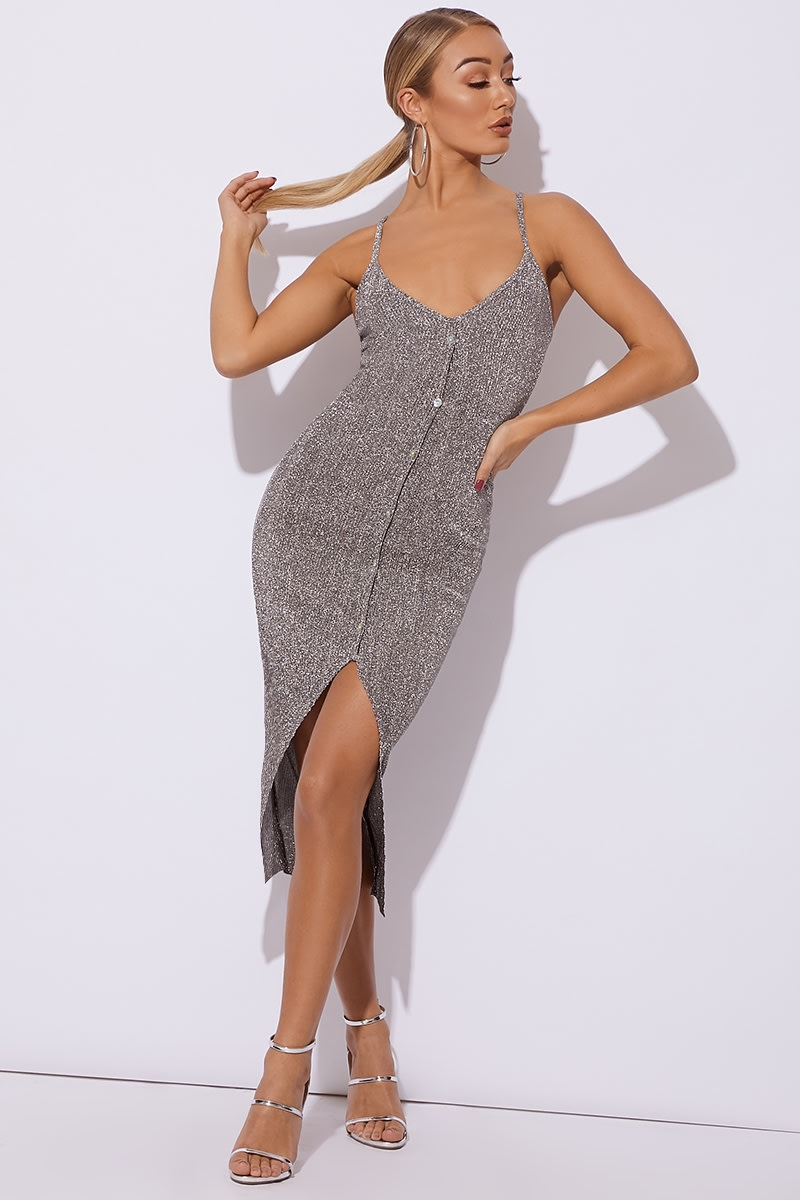 silver glitter knit button down midi dress