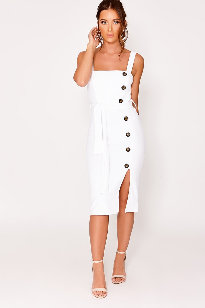 CALISTAH WHITE BUTTON DOWN MIDI DRESS