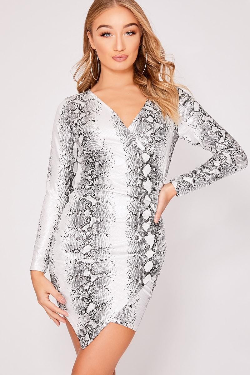 silver metallic snake print asymmetric mini dress