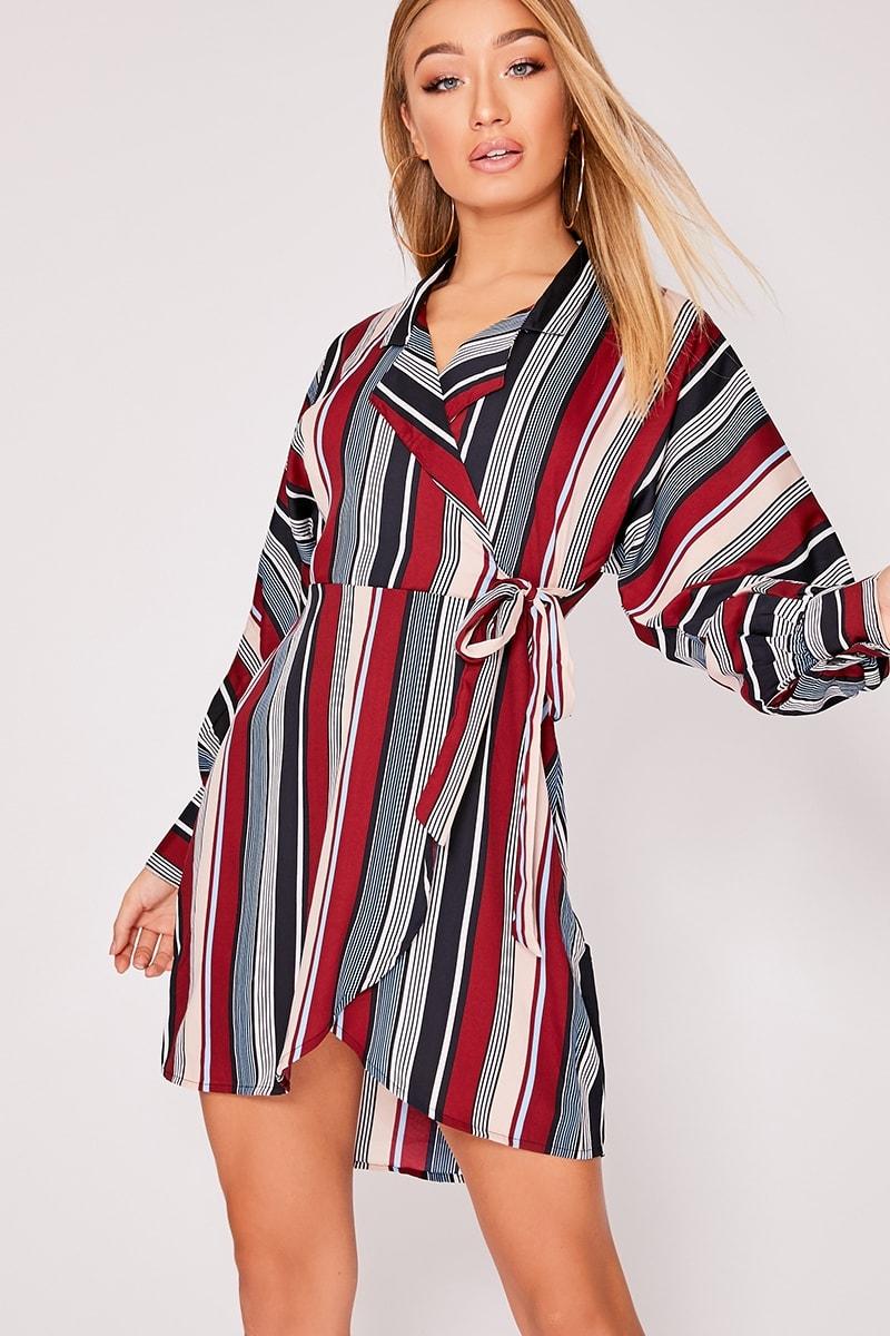 burgundy striped wrap dress
