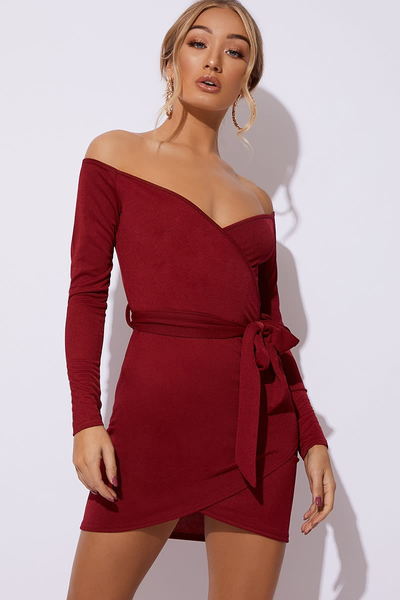 burgundy plunge wrap front dress