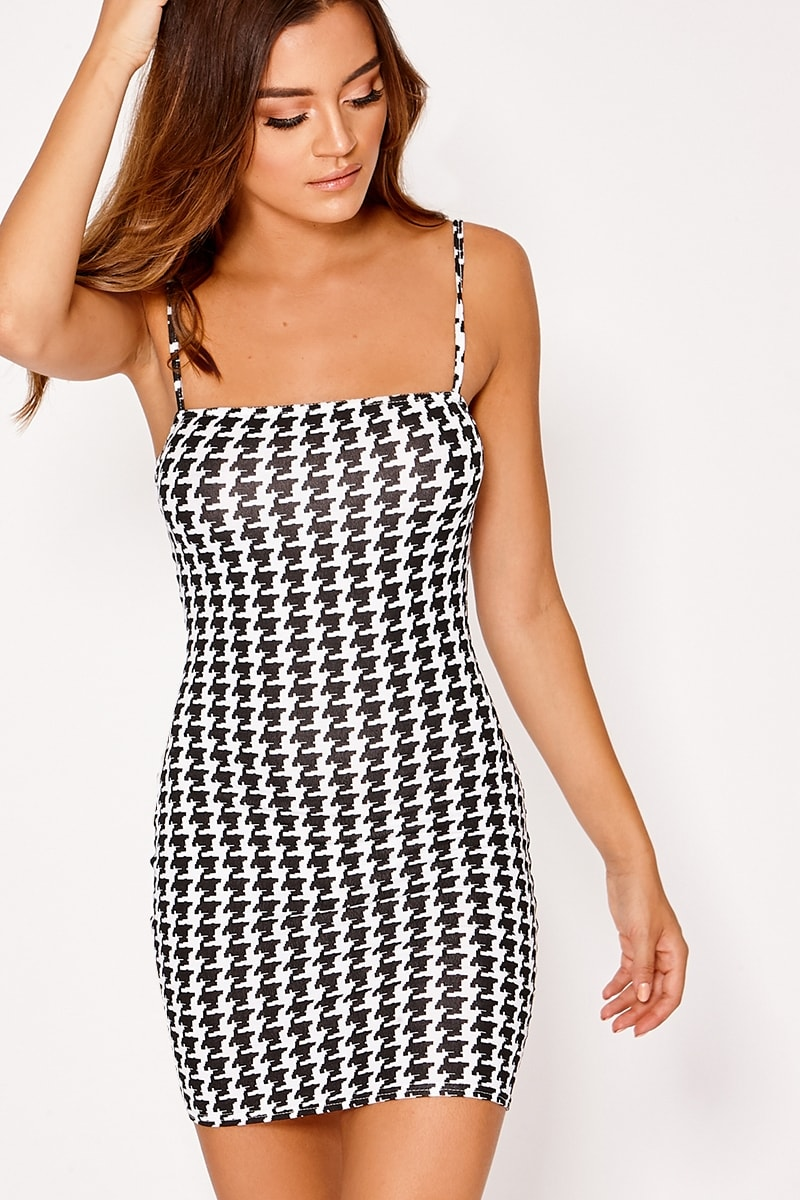 EILAH BLACK GINGHAM JERSEY SQUARE NECK BODYCON DRESS