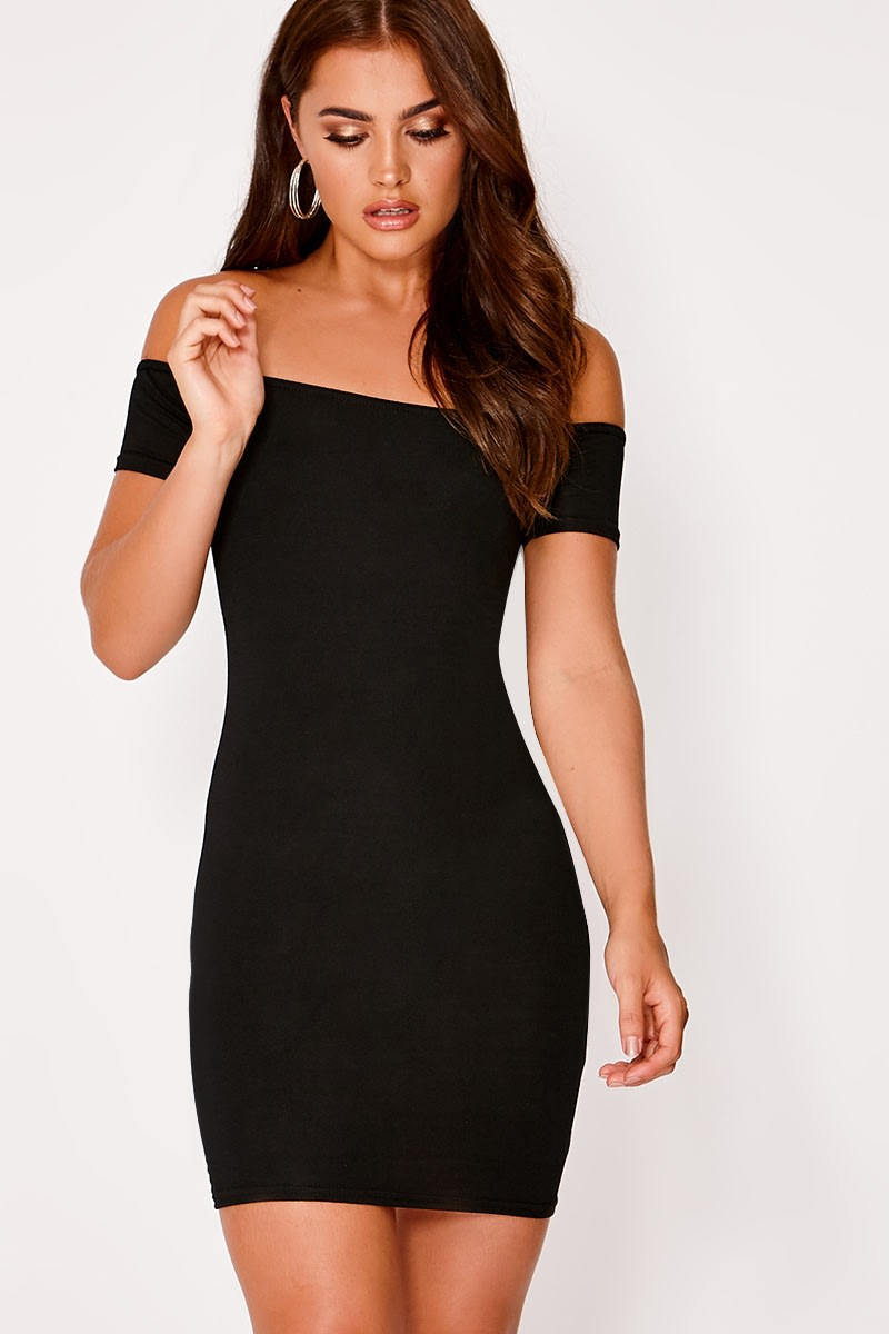 BASIC BLACK JERSEY SHORT SLEEVE BARDOT MINI DRESS