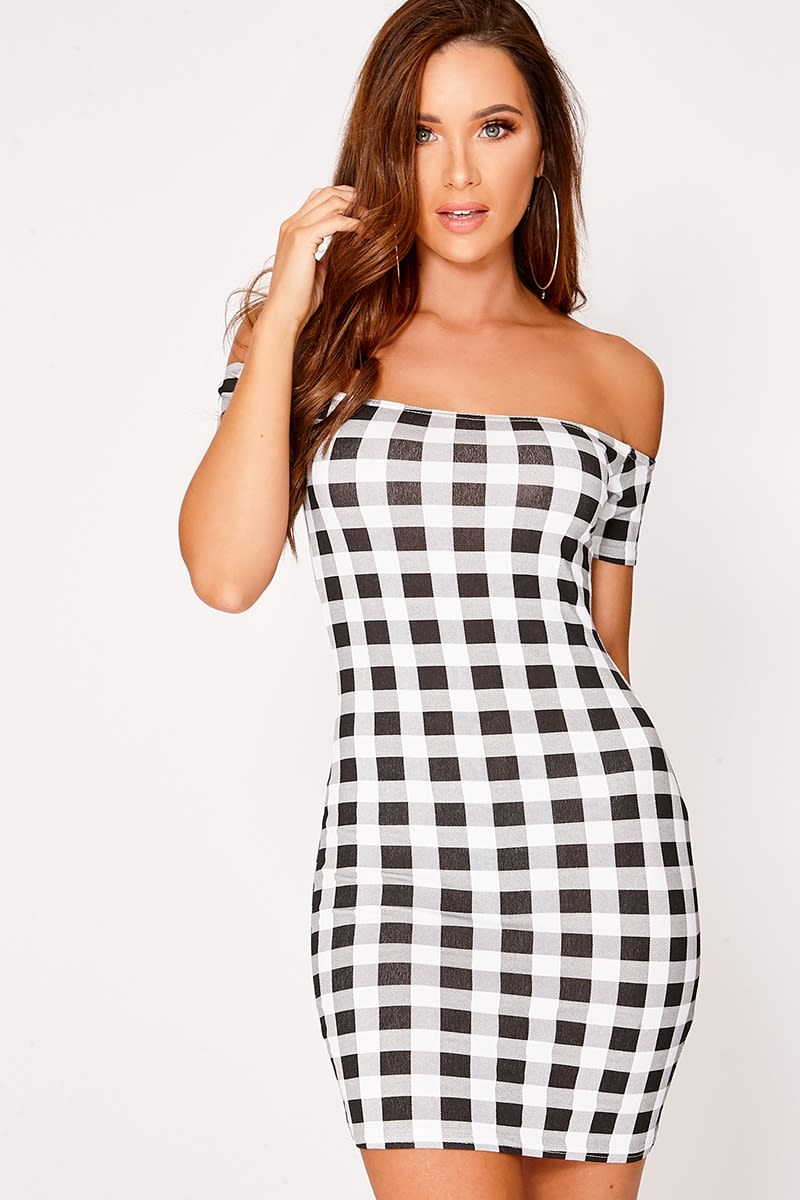 black gingham short sleeve bardot mini dress