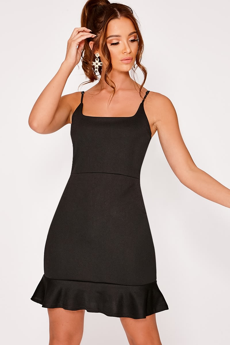 black frill hem mini dress