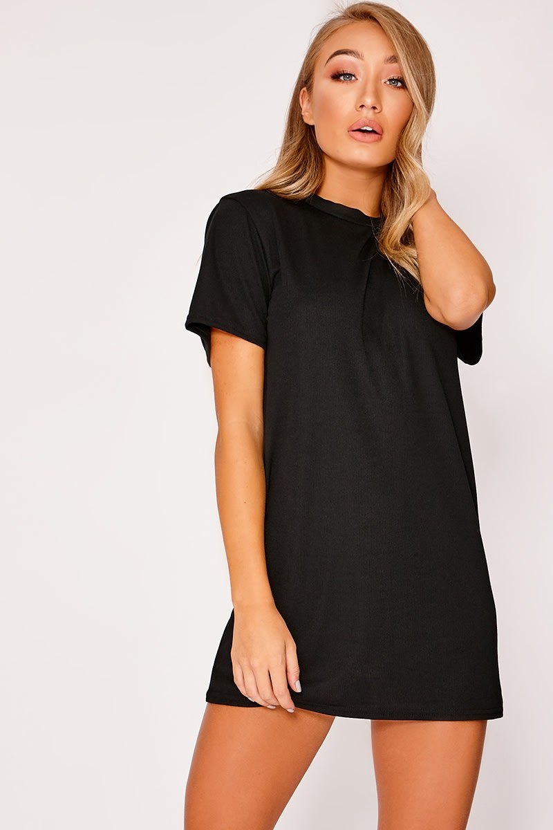 DANEU BLACK RIBBED T SHIRT DRESS