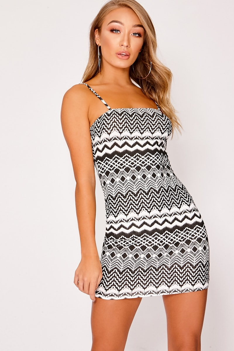 CANDASE BLACK AZTEC JERSEY SQUARE NECK BODYCON DRESS