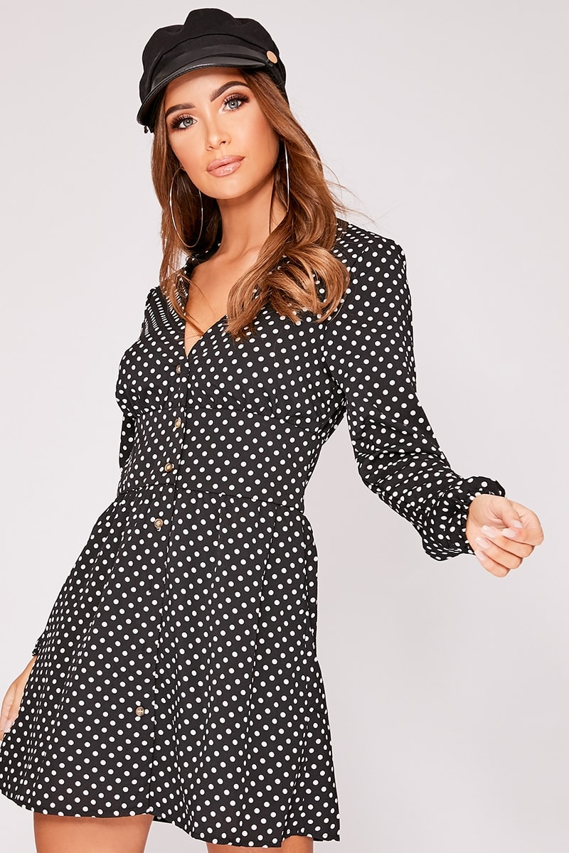 black polka dot button down mini dress