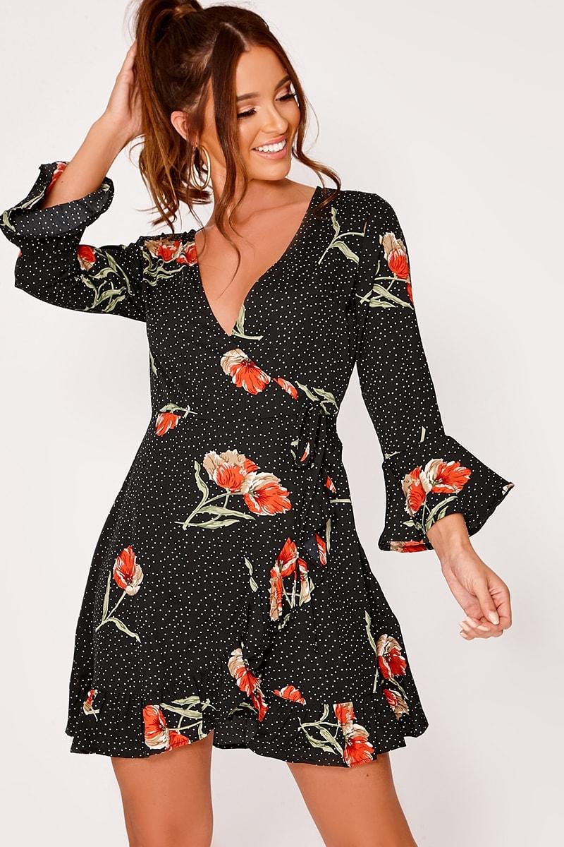 black polka dot floral wrap frill dress
