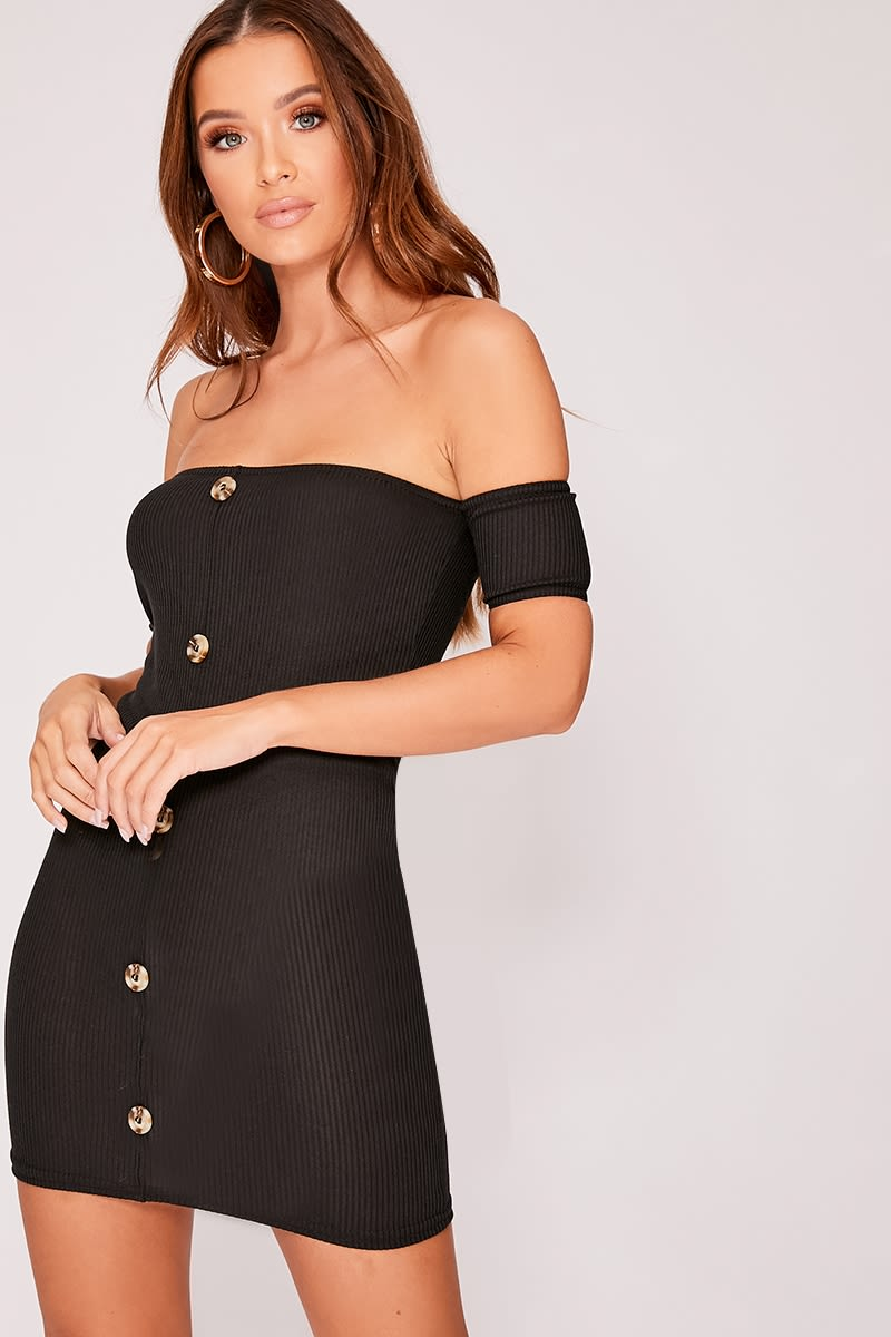 EULAH BLACK RIBBED HORN BUTTON BARDOT DRESS