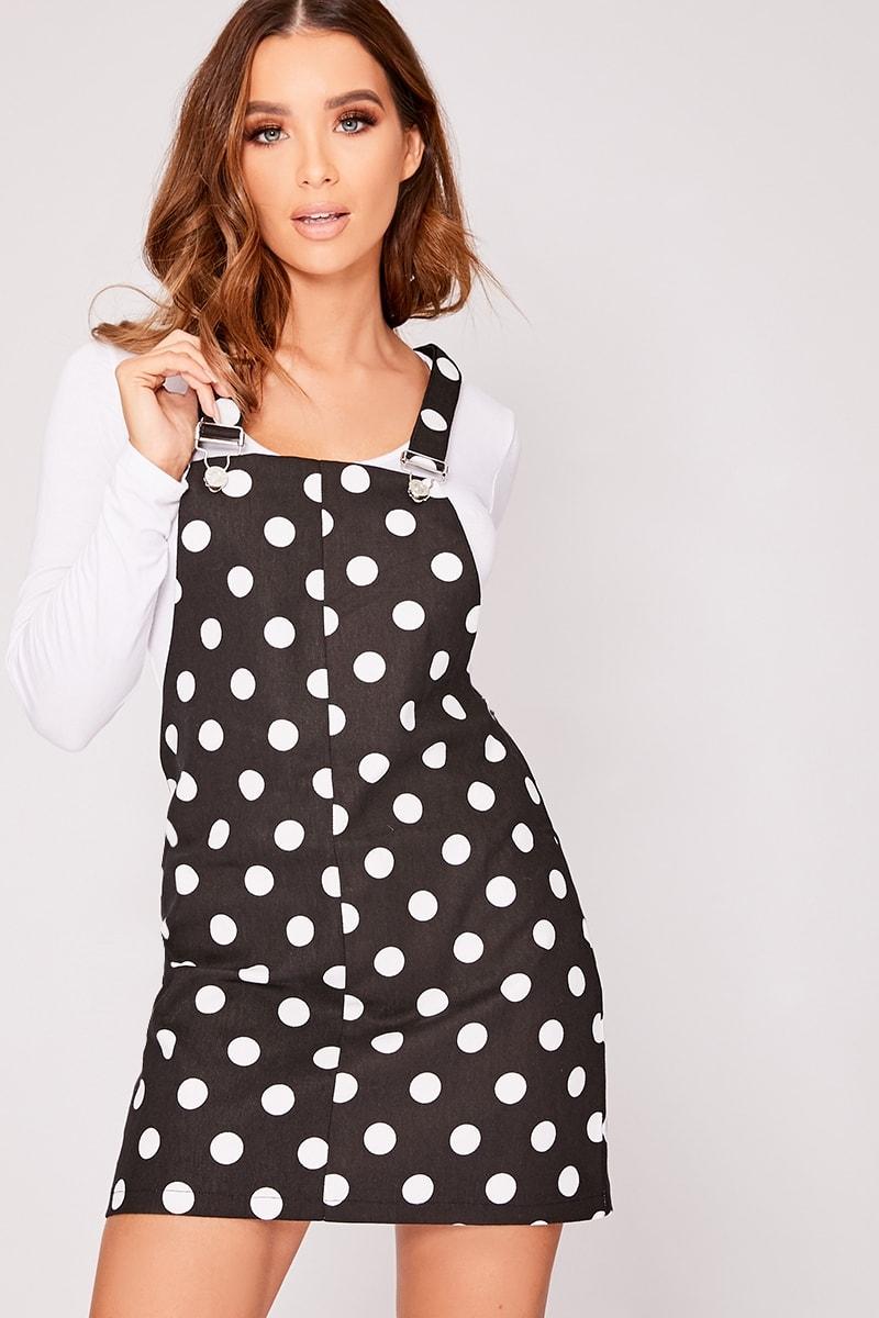 black polka dot denim pinafore dress