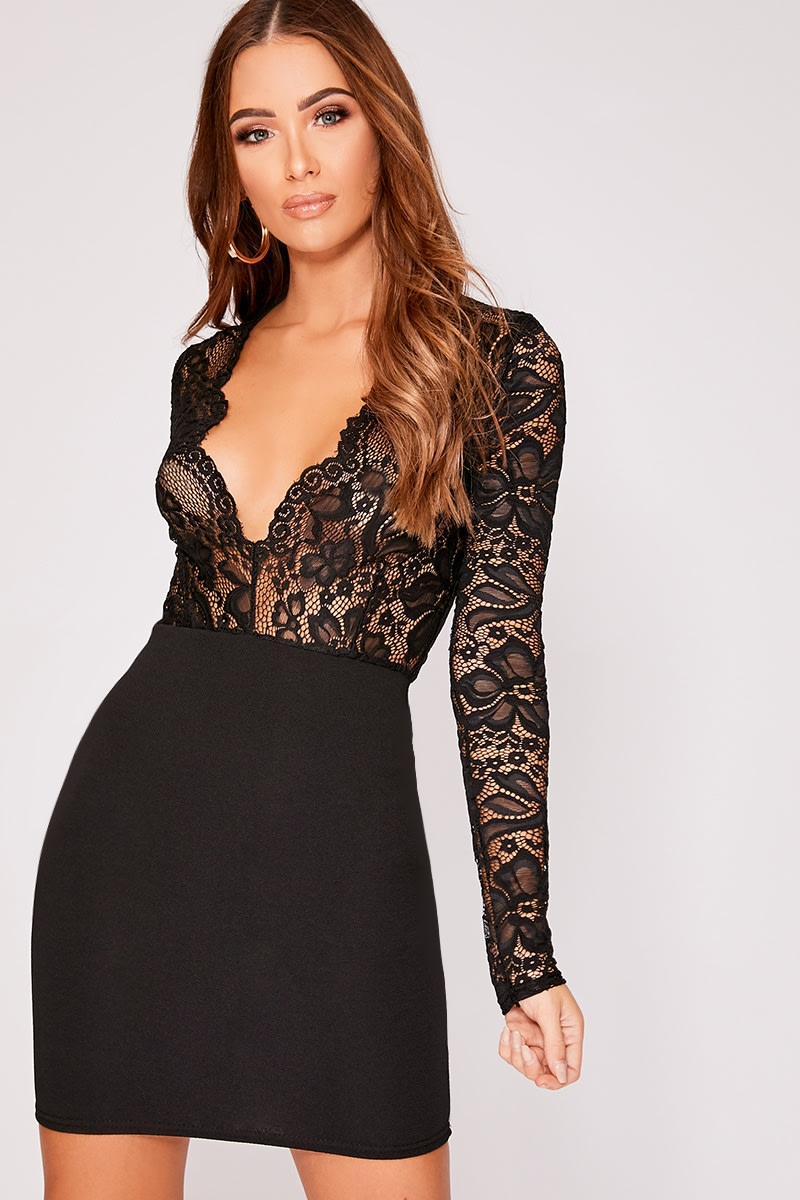 ADAEN BLACK LACE PLUNGE BODYCON DRESS