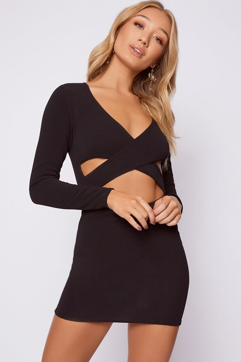 black long sleeve cut out wrap dress