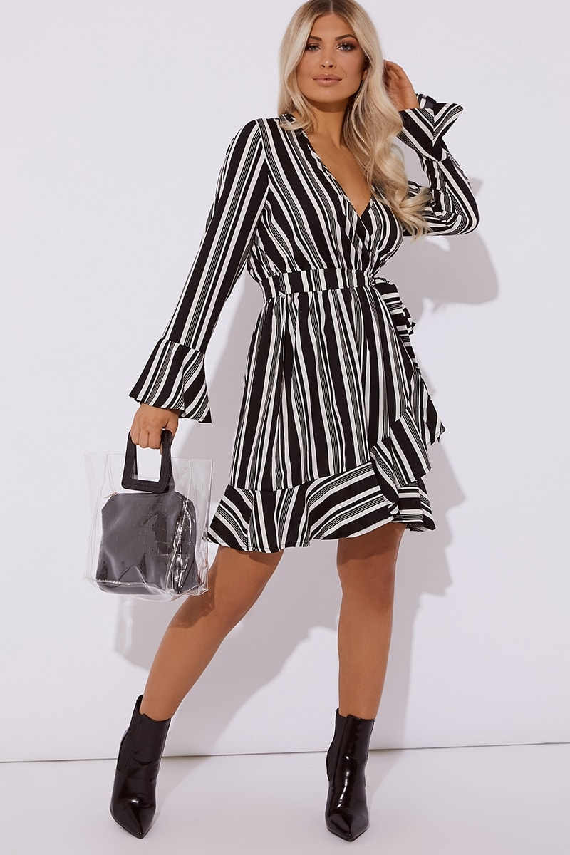 black stripe tie front frill dress