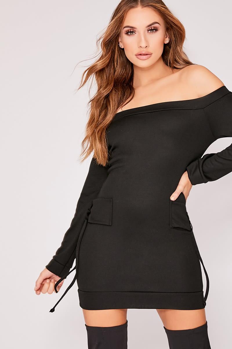 black bardot tie detail sweater dress