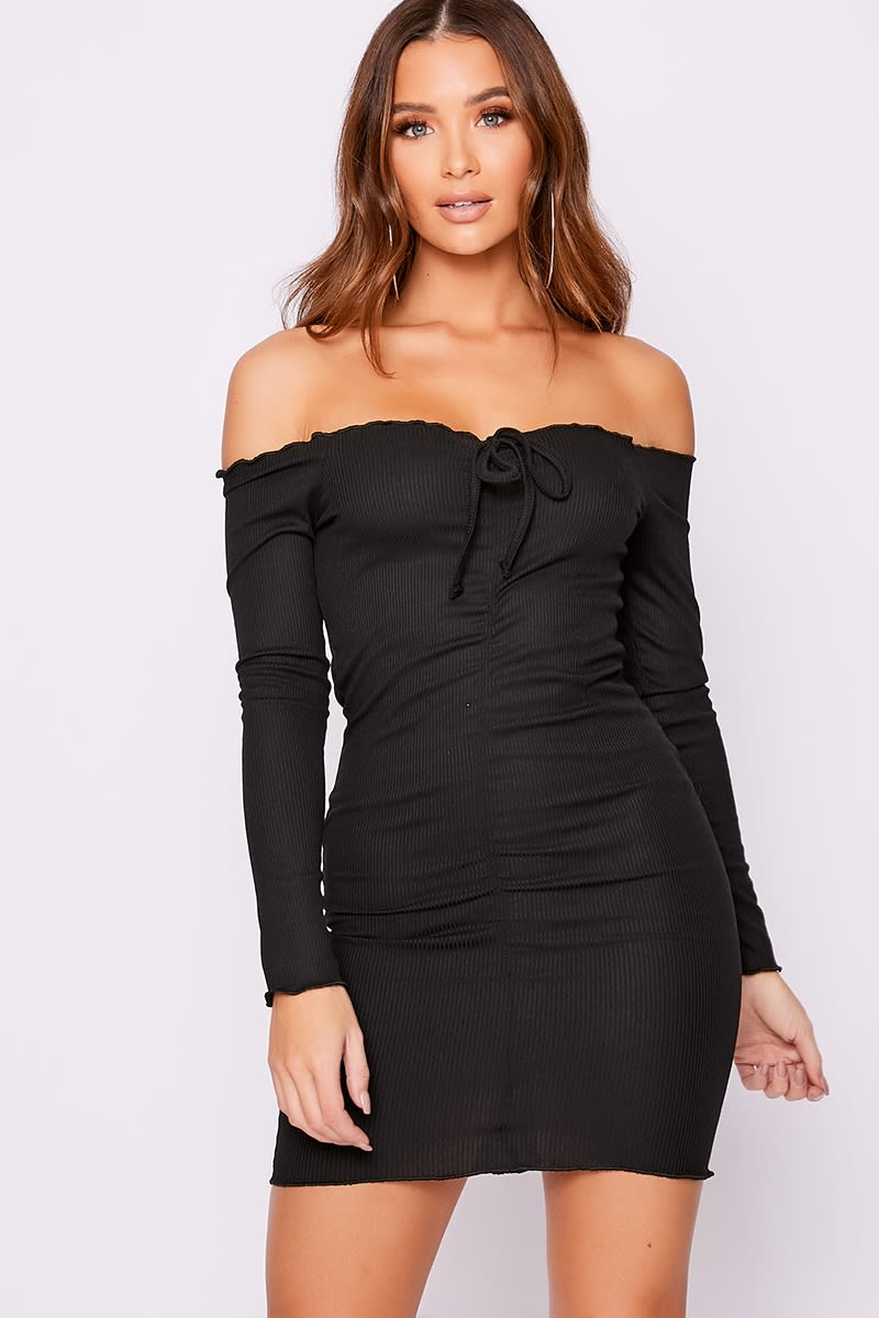 black ribbed bardot ruched mini dress