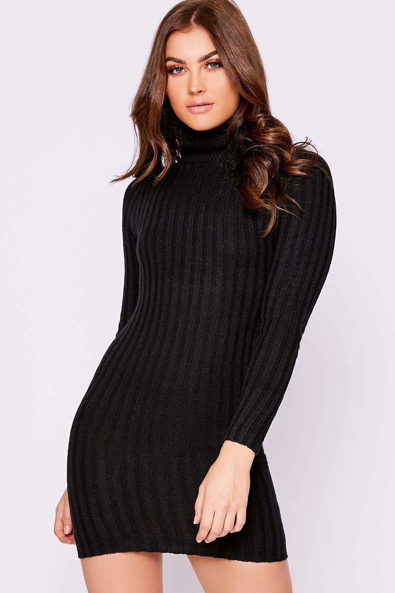 black ribbed knit roll neck jumper dress