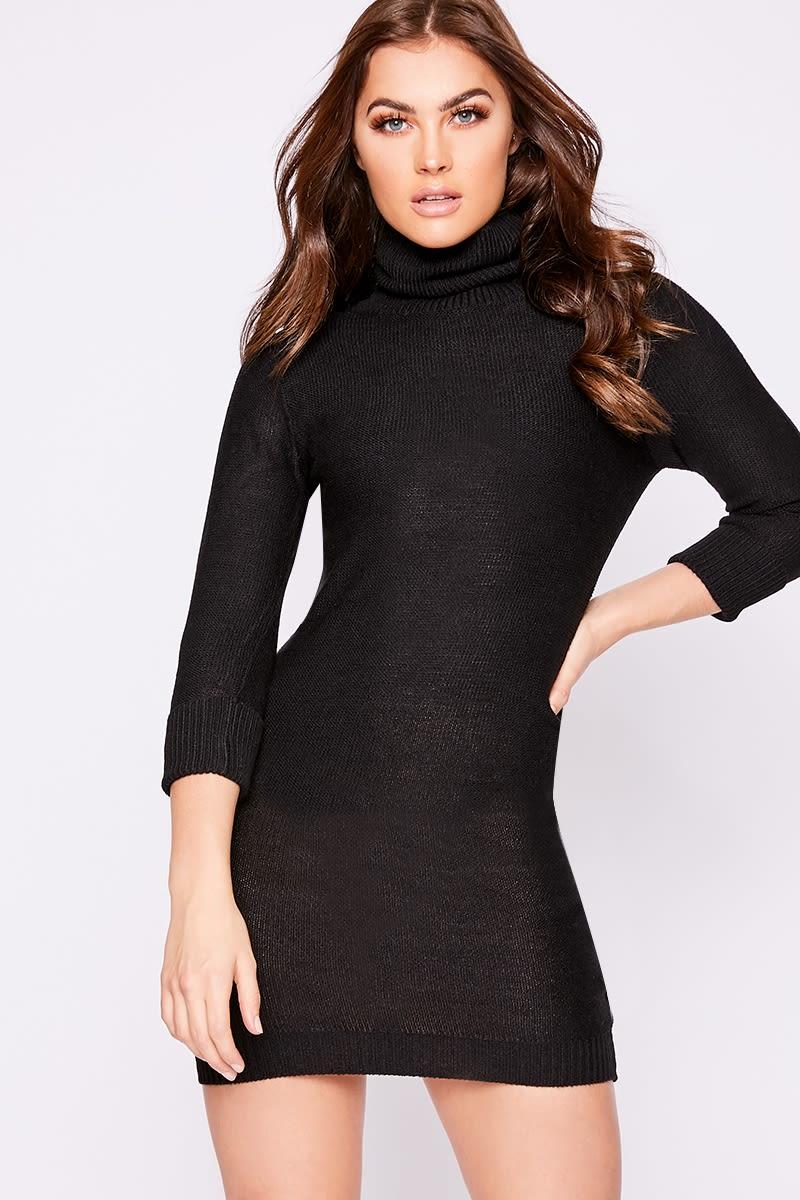black roll neck kniited jumper dress