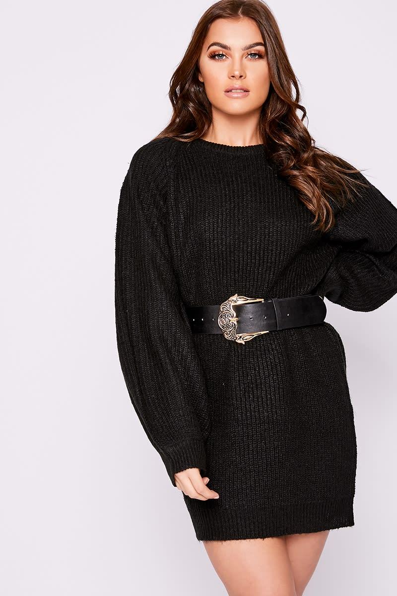 black balloon sleeve knitted jumper dress