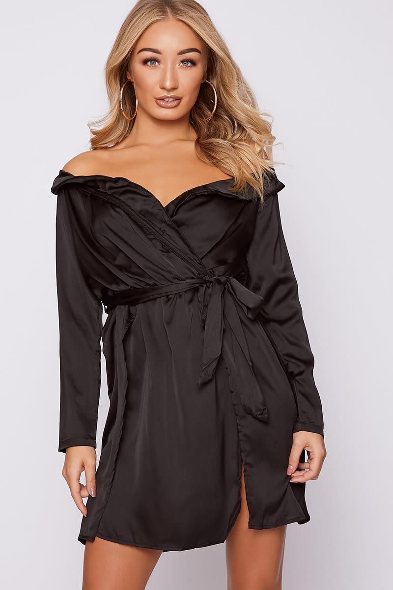 black satin off shoulder dress