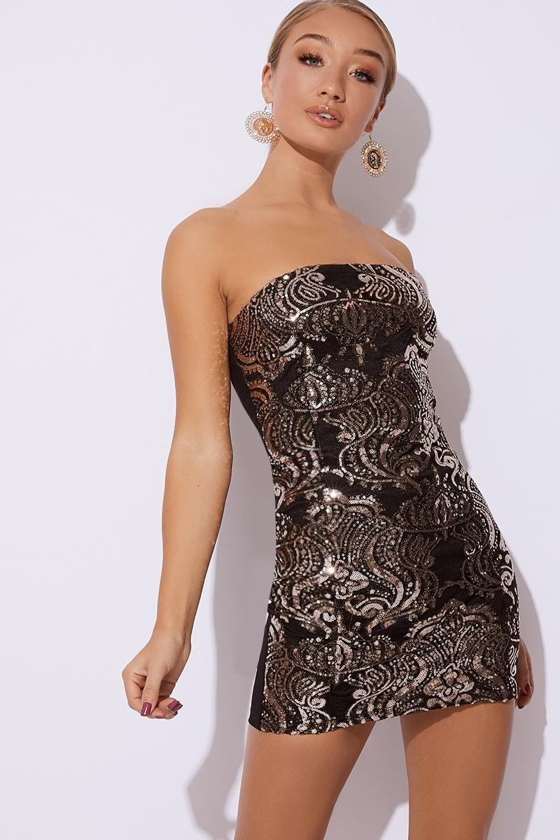 black sequin lace bandeau mini dress