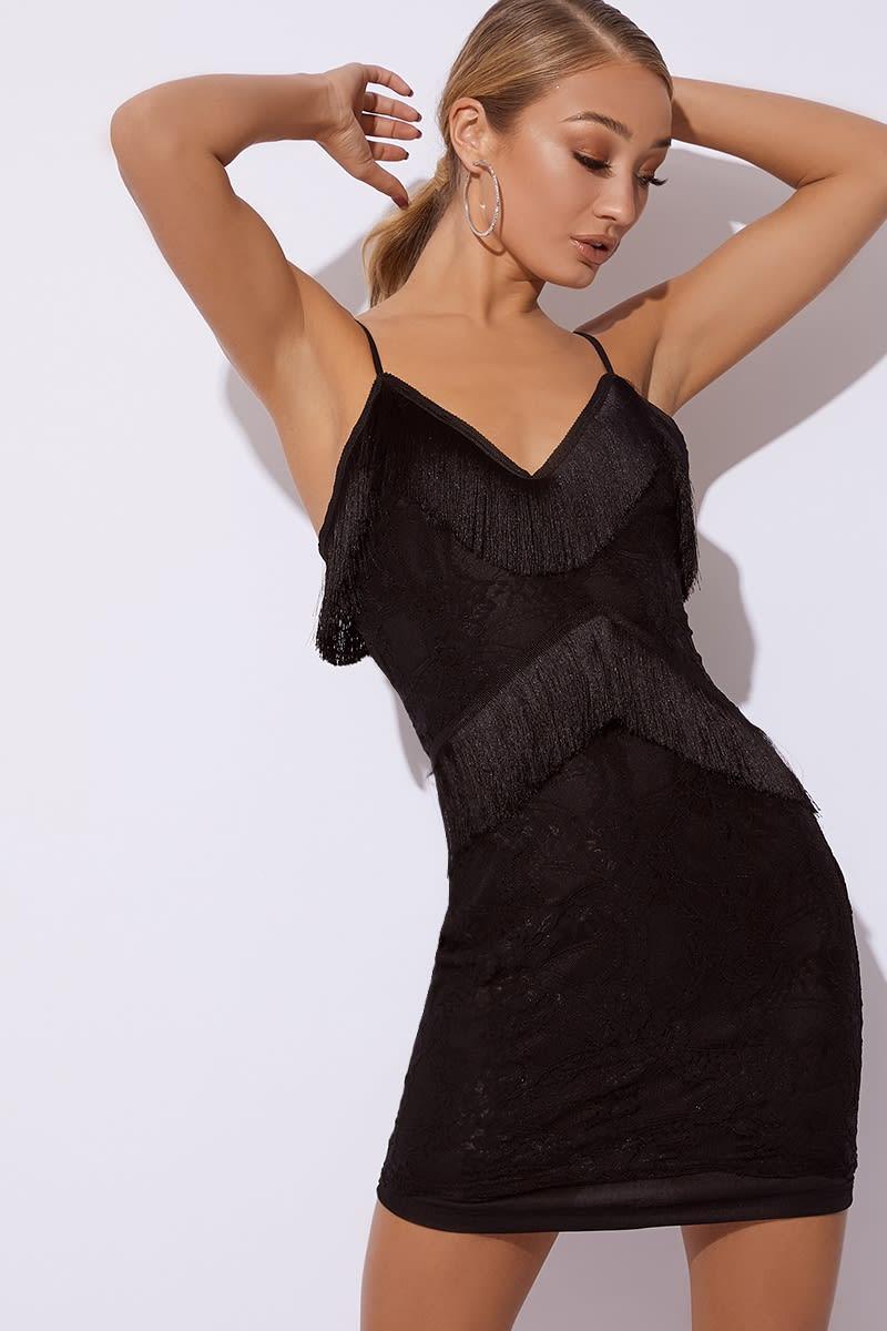 black tassel lace cami dress