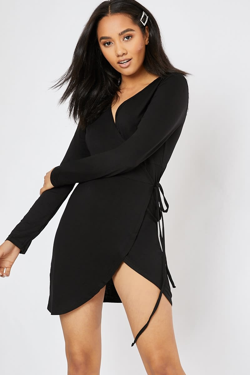 black wrap over long sleeve mini dress