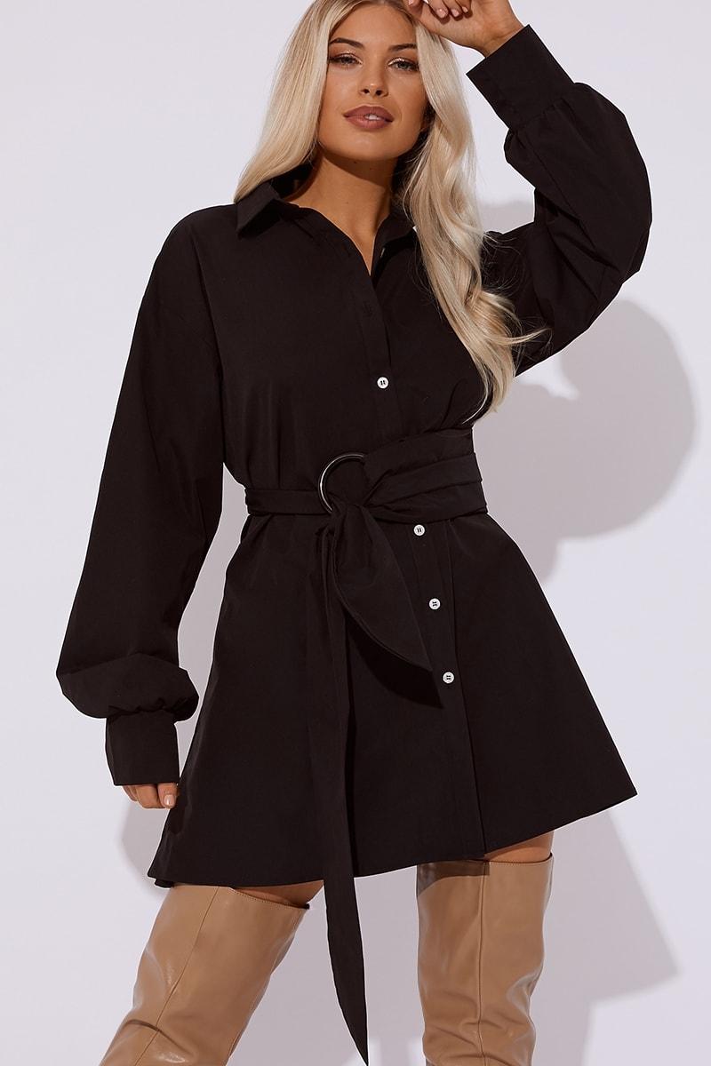 Black Ring Detail Shirt Dress | In The Style Australia