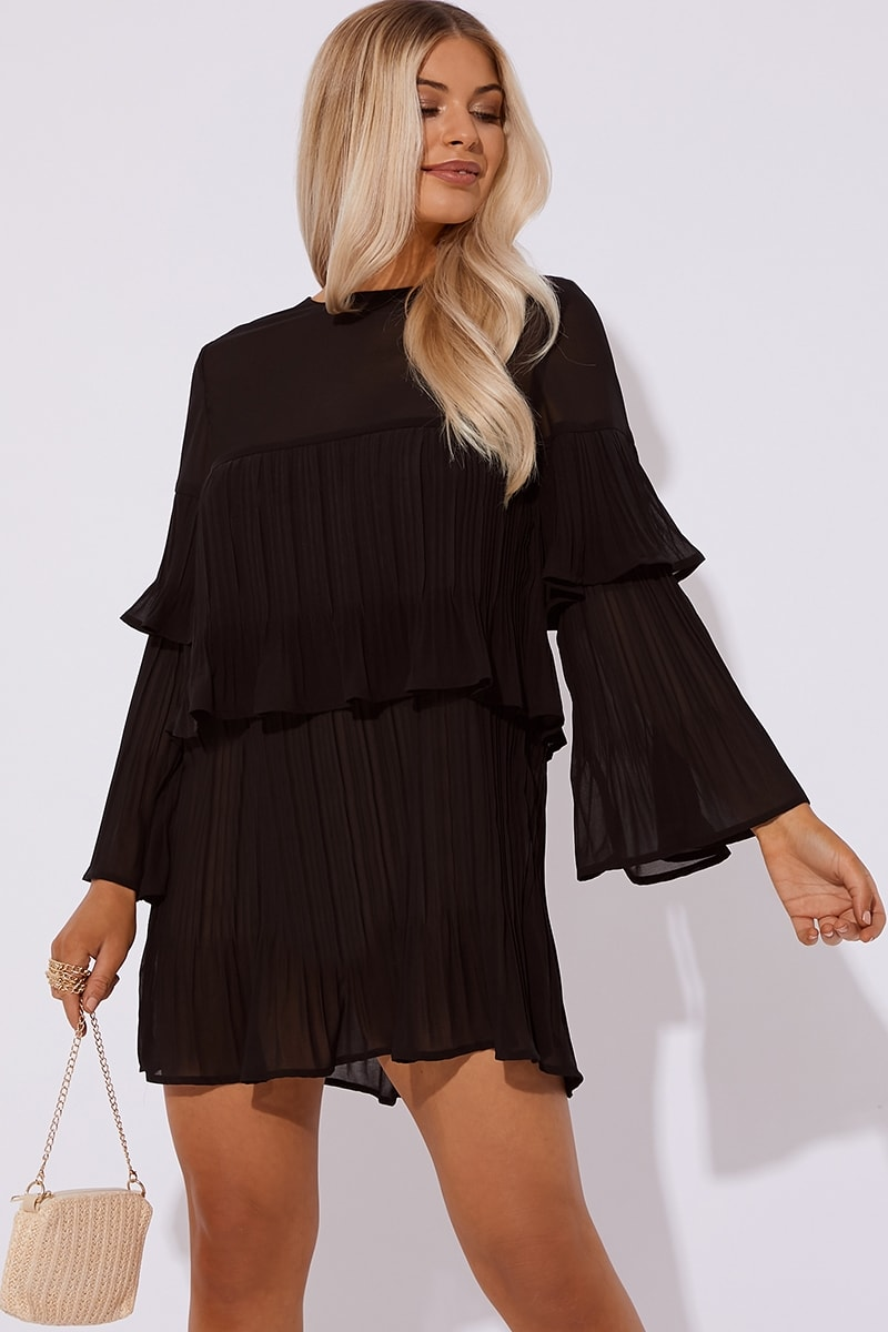 black pleated mini dress