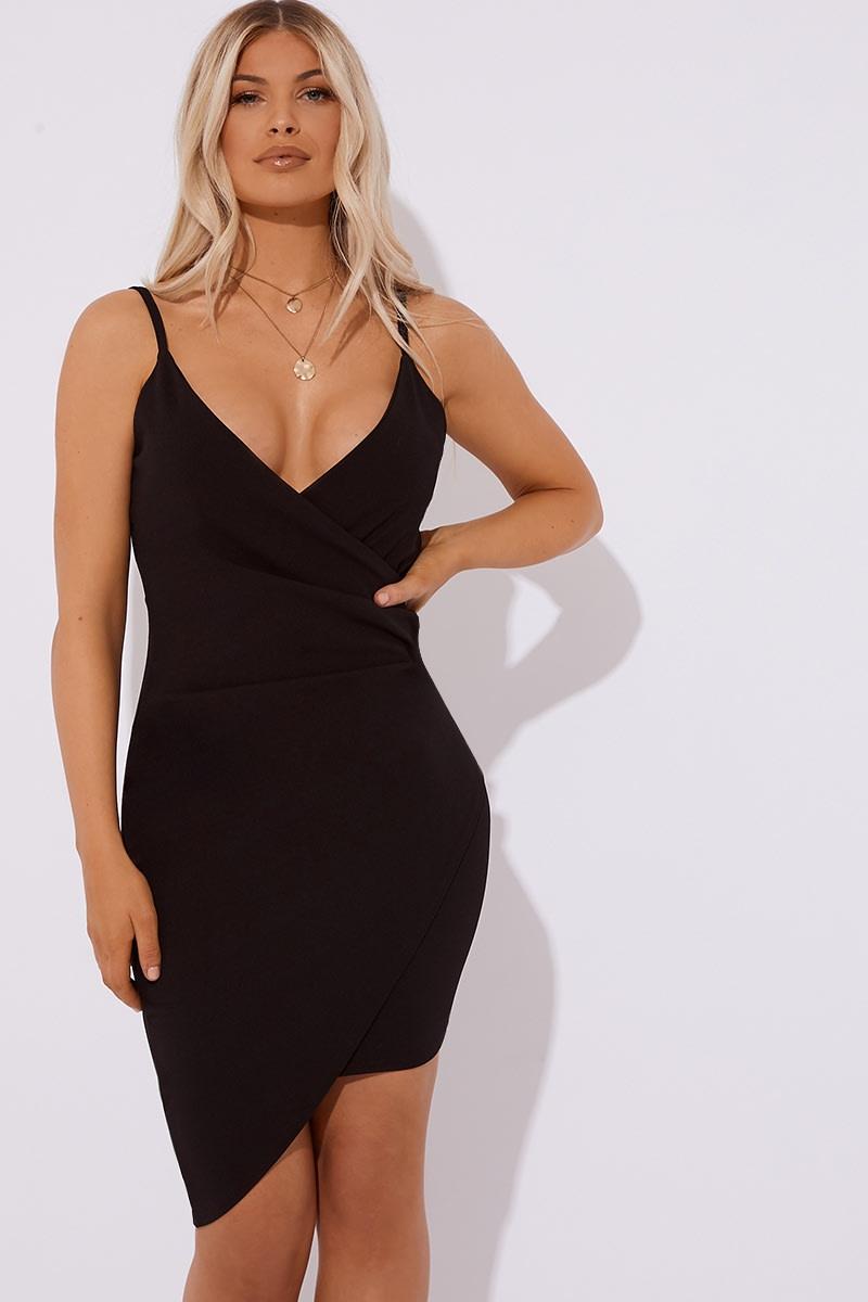 black ruched front mini dress
