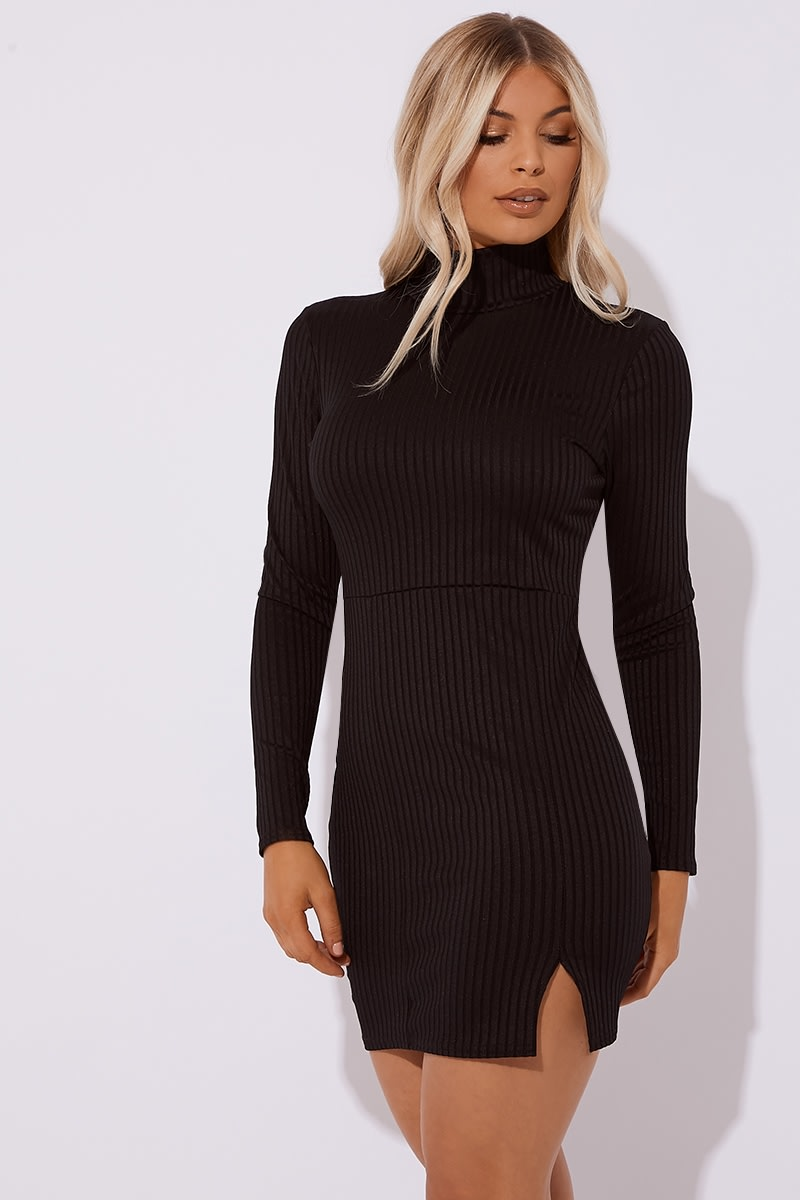 black ribbed high neck split mini dress
