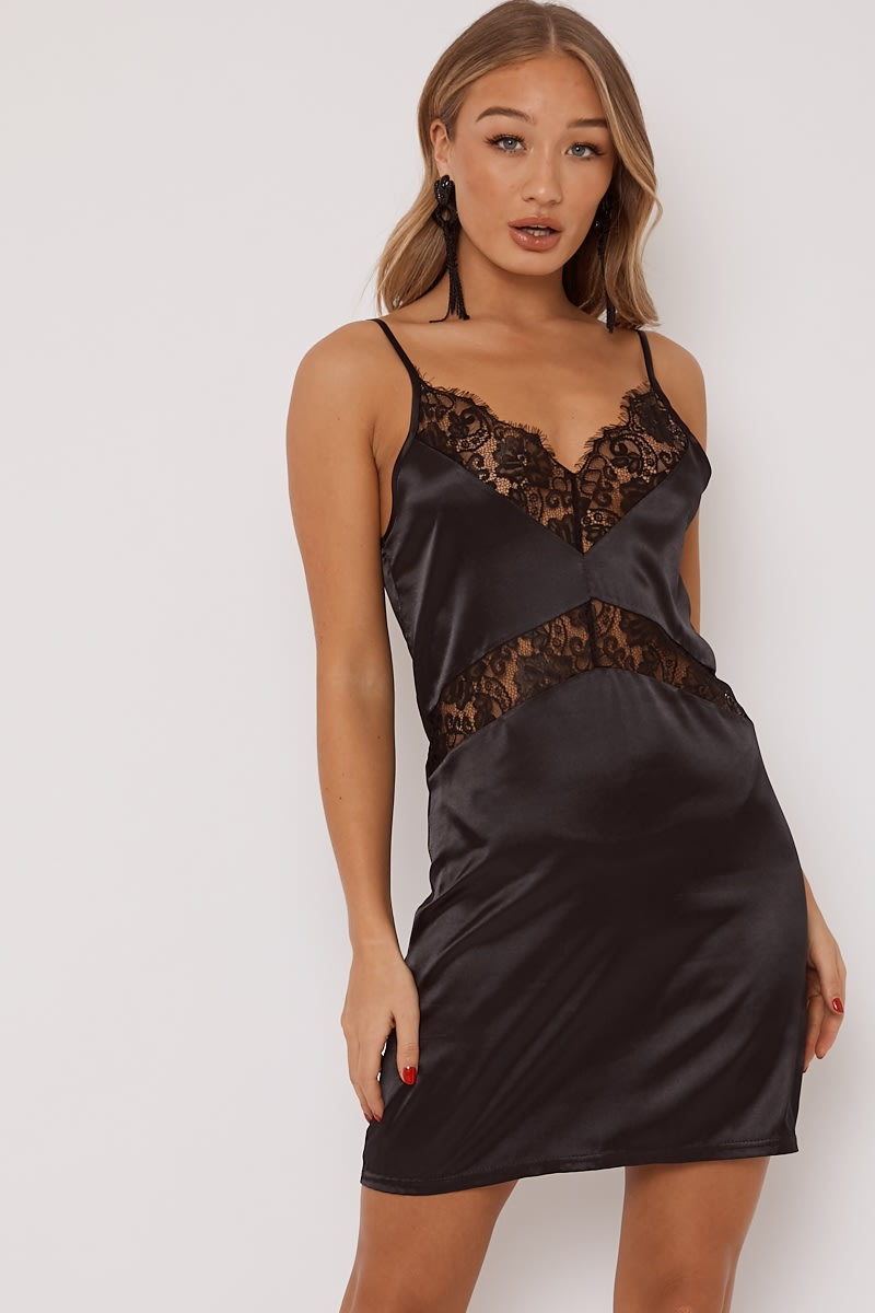 Black Lace Trim Satin Slip Dress In The Style