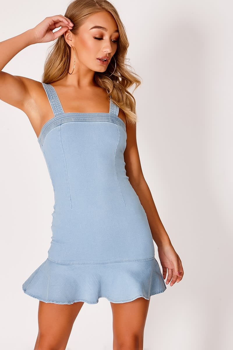 FLEAUR LIGHT BLUE DENIM FRILL HEM DRESS
