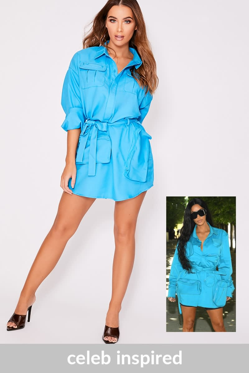 blue multi pocket utility shirt dress