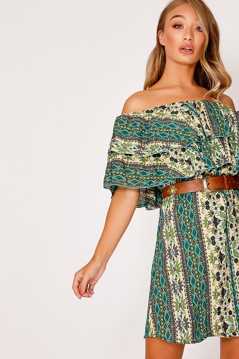 green aztec floral bardot dress