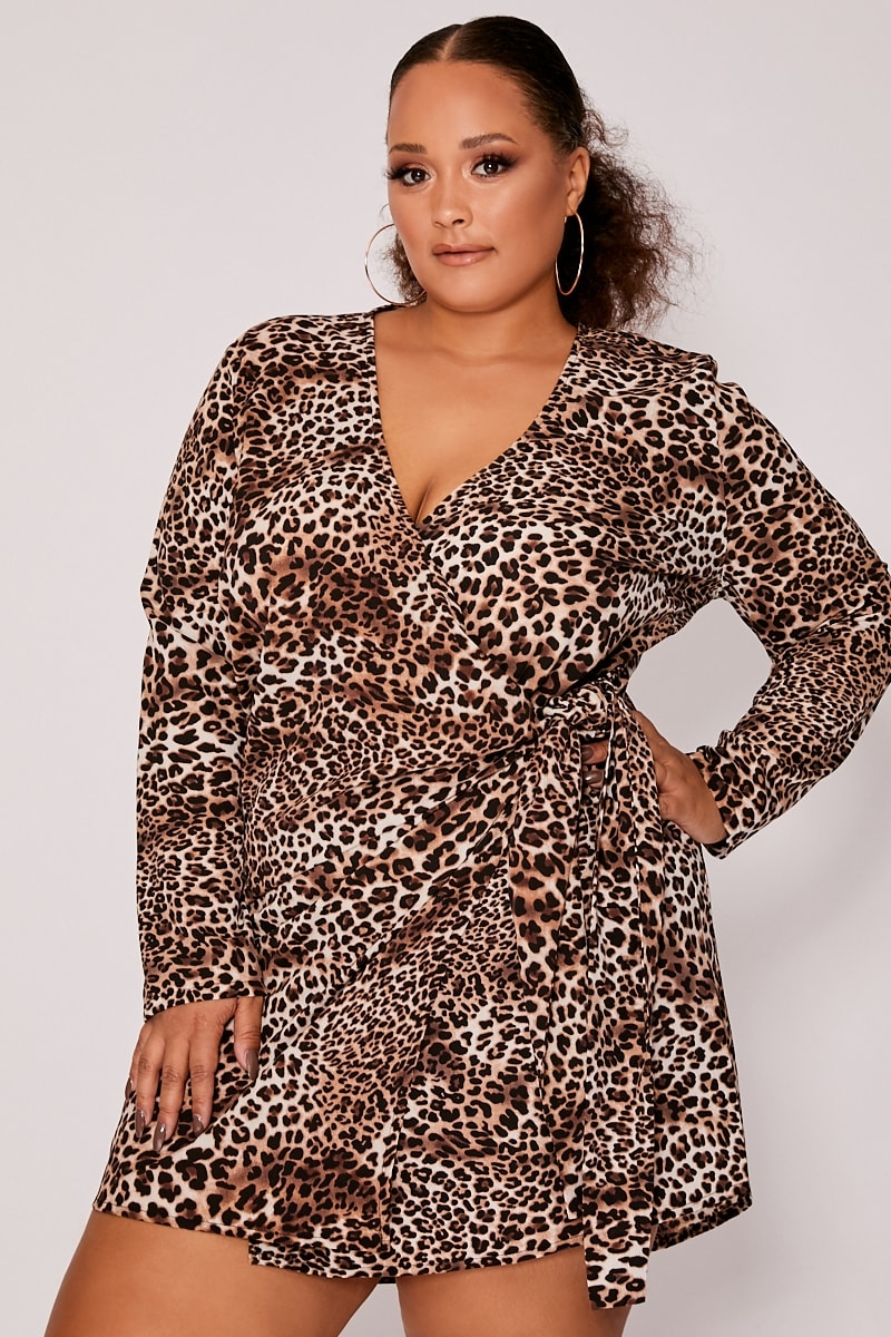 CURVE KATHERIN LEOPARD PRINT WRAP FRONT LONG SLEEVE DRESS