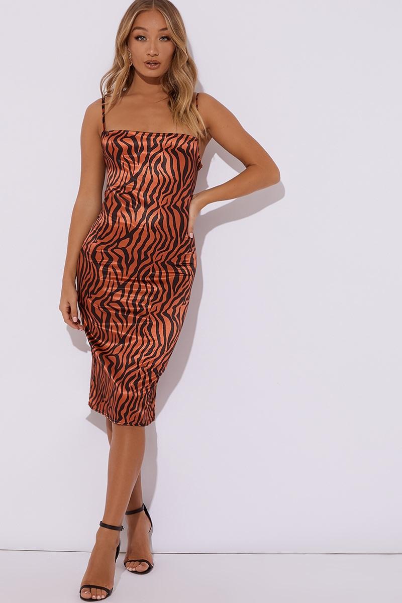 rust zebra satin cowl neck midi dress