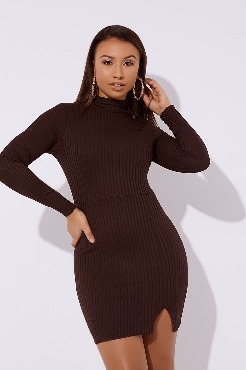 brown ribbed high neck split mini dress