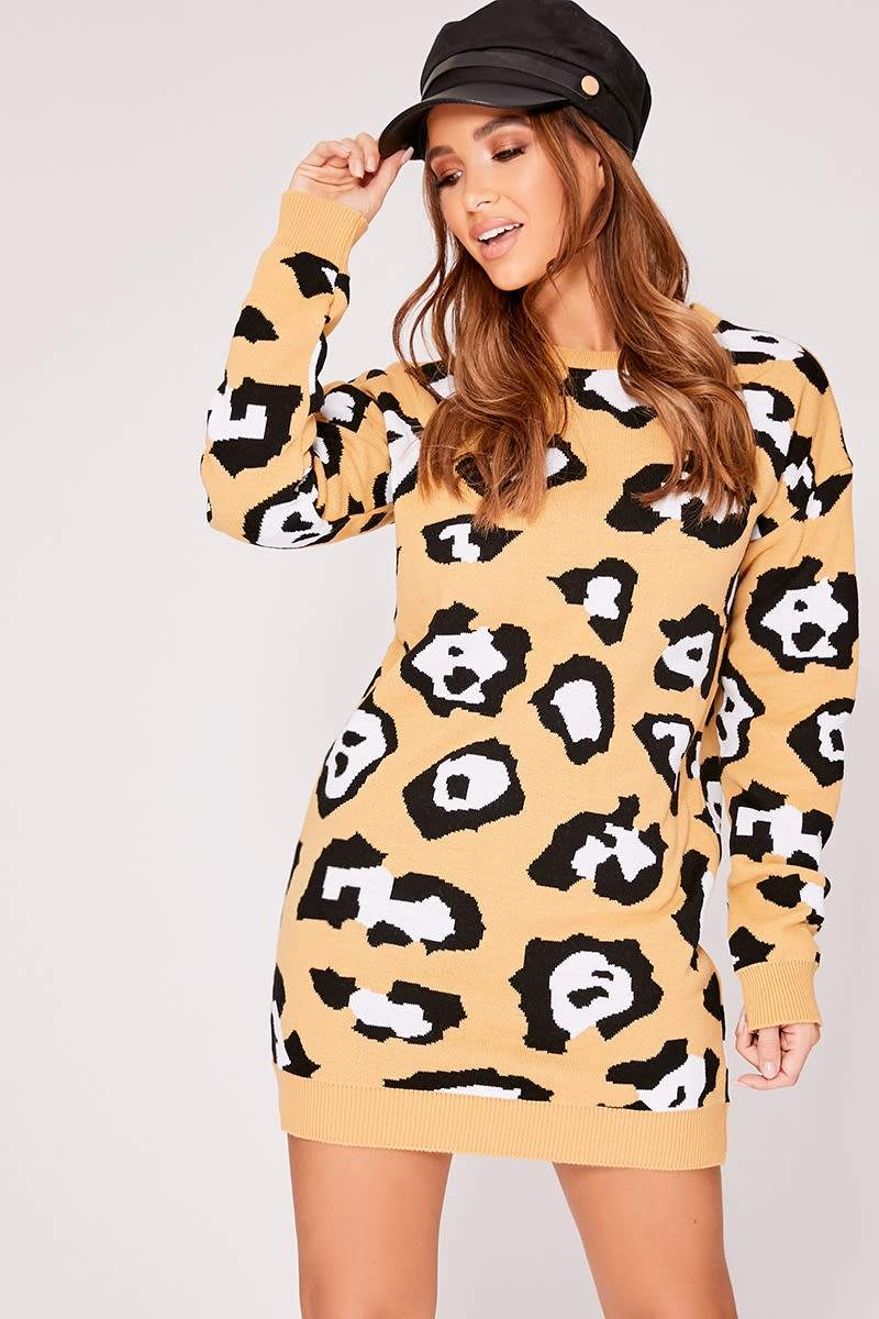 camel leopard print oversized knitted dress